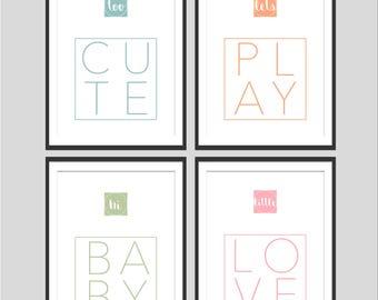 Set of 4 prints. Nursery Art Print. Nursery Decor. Baby Bedroom Print. Baby Nursery Print. Girls Nursery. Girls bedroom decor. Printable