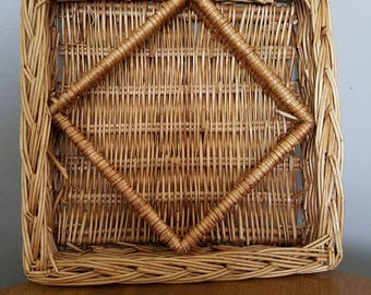 Vintage Woven Wicker Square Basket / Wall Basket
