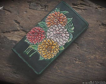 Colorful flower hand tooled/carved wallet