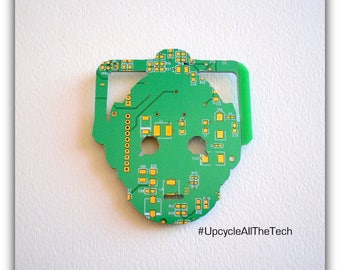 Cyberman Silhouette Cut Out of Recycled Circuit Board - Choose Option: Magnet, Pin or Hanging Ornament?