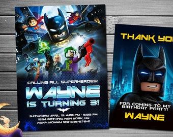 Lego Batman Invitation, Lego Batman Birthday, Lego Batman Party, Batman Invitation, Batman Birthday Invitation, Batman Party, Lego Batman
