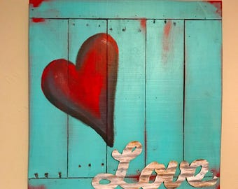 Turquoise and Red LOVE Sign