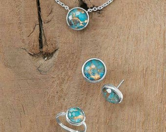 Freeform Faceted Quartz over Turquoise Necklace, Earrings, and Ring set