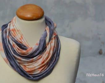 Loop, eco-print, Snood, Seidenloop, orange, silk, wool, Jersy, handmade in the FilzHaus16