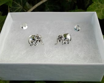 Elephant Earrings, Solid Sterling Silver Elephant Earrings, Safari Jewelry, Stud Earrings