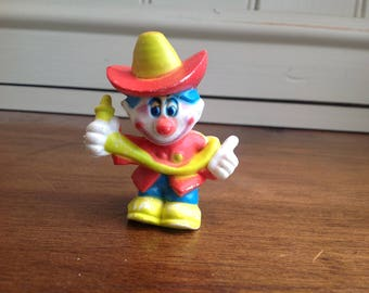 Vintage plastic clown around figure fireman 1981