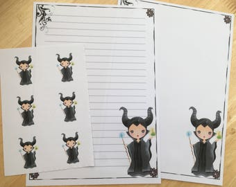 Maleficent set of 25 sheets letter writing paper and 6 envelope seals