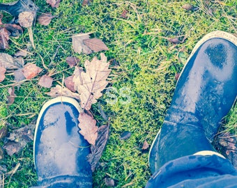 Gum Boots on Grass, Rain Boots, Galoches, Rubber Boots, Wellies, Wellington, Waders, Muddy Gumboots, Rainy, Dirt, Puddle