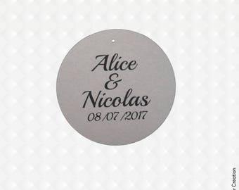 100 round labels custom wedding