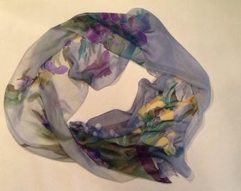 Silk scarf chiffon original women gift girlfriend hand paint spring scarf paint silk scarf flower iris summer flower scarf