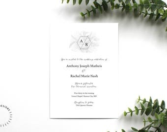Modern Geometric Wedding Invitation Template, Printable Geometric Wedding Invitation, Modern Floral Wedding Invitation, Customizable Invite