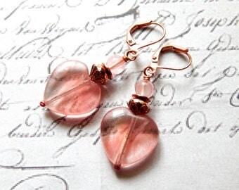 Heart Earrings - Cherry Quartz, Czech Glass and Copper Heart Earrings