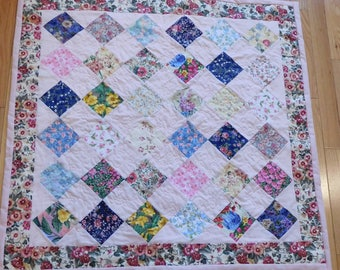 Baby Floral Quilt with Matching Doll Quilt