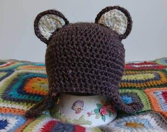 Bear beanie, baby shower, baby boy, baby girl newborn Beanie, newborn hat, baby beanie, baby hat, toddler beanie, toddler hat, winter,