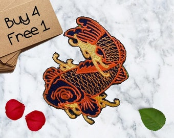 Orange Koi Patches Koi Patches Iron On Patch Applique Patches For Jackets