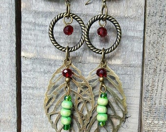 Brass Leaf Drop Earrings with red and green beads