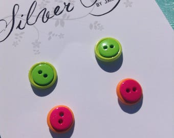 Two Pair Double Button Earring Nickel Free Green Pink Orange