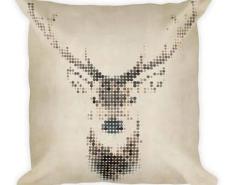Pixel Deer Decorative Pixel Art Pillow Animal Pillow Housewarming Animal Pillow Gift Rustic Home Decor Witty Novelty