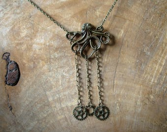 Steampunk Octopus Necklace, Steampunk Necklace, Steampunk Jewellery.