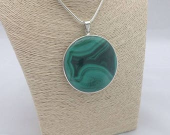 Large round Malachite Pendant