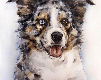 Custom pet portrait | Watercolor painting