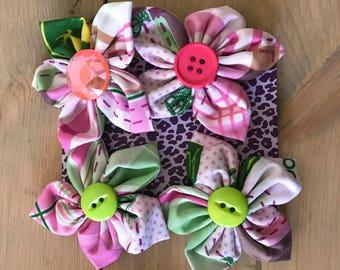 Hair Clip, Children's Hair Accessories, Fabric Flower Clip, John Deere Hair Clip, Pink, Handmade