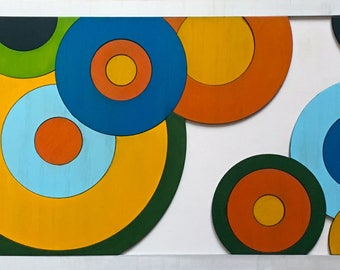 Colorful circles - unique wood decoration with modern design
