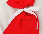 Cloth Gift bag - Red Polka Dot Gift Wrap - Reusable Gift Bag, Eco Friendly Gift Bag (medium)