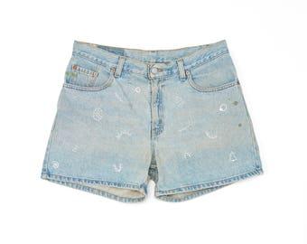 90's vintage hand embroidered geo denim shorts