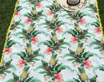 Pineapple Tropical Parrot Beach /Picnic blanket with yellow pom pom