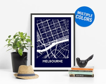 Melbourne Full Color Map Print | Melbourne Australia Map | Melbourne Art