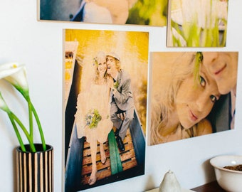 Set of 3 8x10 Photo Boards - Personalized - Your Photo on a wood photo board - 8x10 inch - Baby. Wedding Gift - Wall Art - Ready to Hang