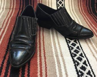 VTG Southwestern Black Slip On Ankle Boots Size 6