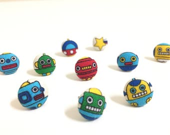 Robot fabric covered button earrings/ fabric button earrings
