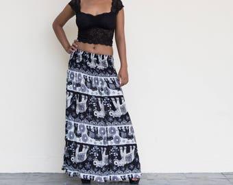 Maxi Skirt, Long Skirt, Bohemian, elephant skirt, boho, gypsy, hippie