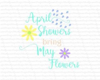 April Showers Digital File Silhouette,Cricut,svg,jped,png,html,pdf