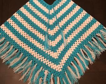 kids ponchos, knit,  crochet poncho, handmade poncho (5-7 years old)