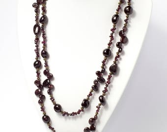 Garnet Long Necklace Layering Necklace Bohemian Necklace Delicate Necklace Long Beaded Necklace Long Statement Necklace Lariat Necklace