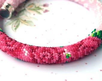 Crocheted Necklace Botanic Necklace Rope Necklace Crochet Necklace Bead Crochet Rope Seed Bead Necklace Seed Bead Crochet Rose Necklace
