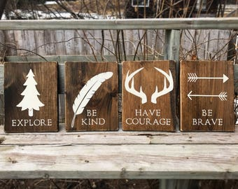 Explore, Be kind, Have courage, Be brave - set of 4