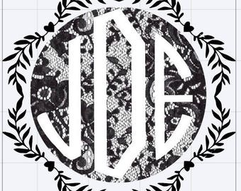 Lace black and white vinyl block letter monogram