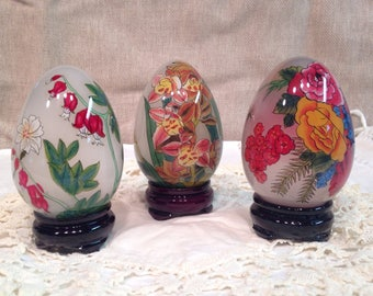 Set of 3 Eggs on Stands with Floral Paintings on the Inside