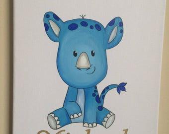 Michael the Rhino- Custom Nursery Art, Baby Nursery Wall Decor, Baby Nursery Art, Baby Wall Art, Baby Decor, Blue and Grey Nursery