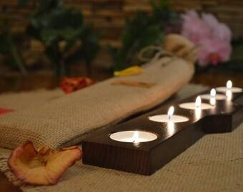 Candle Holder, Wood Tea Light Candle Holder, 5 Tea Light Holder, Home Decor