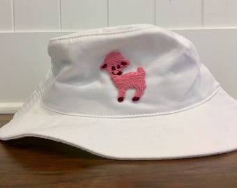 White Bucket Hat with Pink Lamb Patch