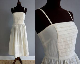 1950s Cotton Summer Dress / Vintage Spaghetti Strap Dress