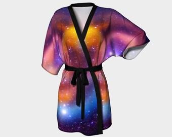 Galaxy, Kimono Robe, Nebula, Dressing Gown, Bridesmaid Robe, Colorful Robe, Coverup, Spa Robe, Swimsuit Coverup, Robe, Knit, Chiffon Kimono,