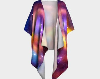 Galaxy, Draped Kimono, Kimono Wrap, Nebula, Shawls & Wraps, Draped Blouse, Bohemian, Colorful Wrap, Shrug, Shawl, Coverup, Silky Kimono