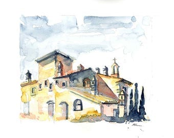 Tuscany Villa - original watercolour.