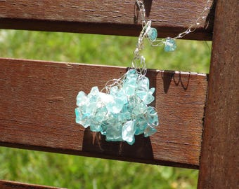 Crocheted necklace - light blue chips and silver